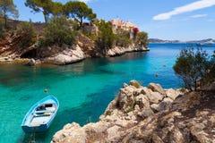 Cala Fornells Mening in Paguera, Majorca stock afbeelding