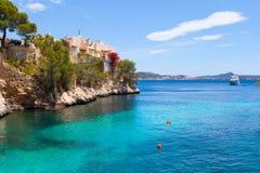 Cala Fornells widok w Paguera, Majorca Fotografia Stock