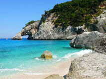Cala Goloritze. Cliff that hangs over sardinian sea Royalty Free Stock Photography