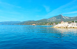 Cala Gonone harbor. Seen from the sea Royalty Free Stock Images