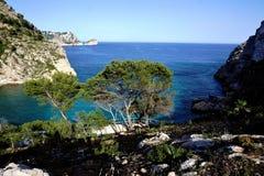 Cala Grandadella - jeden piękne plaże w Hiszpania fotografia stock