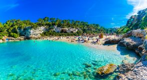 Cala Llombards beach in Mallorca island. Panoramic view of Cala Llombards beach with turquoise clean water in Mallorca island, Spain Stock Photos