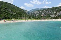 Cala Luna strand i den Orosei fjärden på Sardinia Royaltyfri Foto