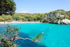 Cala Macarella海湾, Menorca,西班牙海岛  免版税库存照片