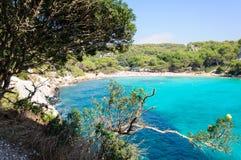 Cala Macarella海湾, Menorca,西班牙海岛  免版税库存图片