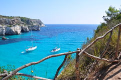 Cala Macarella, Menorca,西班牙 免版税图库摄影