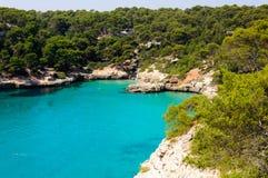 Залив Cala Macarella, остров Менорки, Испании Стоковое Изображение RF