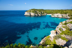 Cala Macarella Macarelleta Cituradella在拜雷阿尔斯的Menorca 免版税库存图片