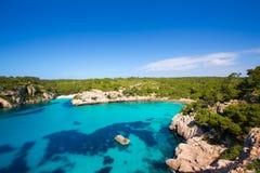 Cala Macarella Macarelleta Cituradella i Balearic Menorca Arkivfoton