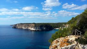 Cala Macarella in Menorca, Balearic Islands. stock photo