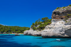 Cala Macarelleta beach cliffs Royalty Free Stock Image