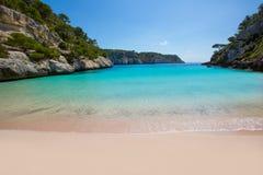 Cala Macarelleta w Menorca przy Balearic wyspami Zdjęcia Stock