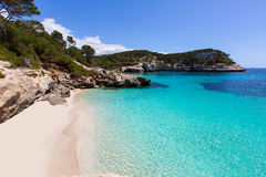 Cala Mitjaneta w Menorca Ciutadella przy Balearics Zdjęcia Stock