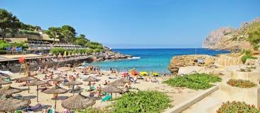 Cala Molins, panorama della spiaggia a Cala Sant Vicenc, Maiorca Fotografia Stock Libera da Diritti