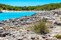 Cala Mondrago - красивые пляж и побережье Мальорки Стоковая Фотография RF