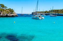 Cala Mondrago - красивые пляж и побережье Мальорки Стоковая Фотография