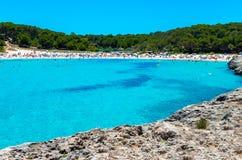 Cala Mondrago -马略卡美丽的海滩和海岸  库存照片