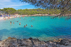Cala Mondrago natural park. CALA MONDRAGO, MALLORCA, SPAIN - SEPTEMBER 4, 2016: Cala Mondrago natural park and S'Amarador beach with clear turquoise water on a Royalty Free Stock Photos