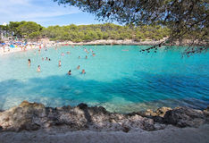 Cala Mondrago natural park. CALA MONDRAGO, MALLORCA, SPAIN - SEPTEMBER 4, 2016: Cala Mondrago natural park and S'Amarador beach with clear turquoise water on a Royalty Free Stock Images
