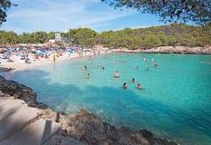 Cala Mondrago natural park. CALA MONDRAGO, MALLORCA, SPAIN - SEPTEMBER 4, 2016: Cala Mondrago natural park and S'Amarador beach with clear turquoise water on a Stock Images