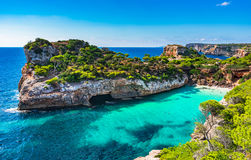 Cala Moro bay beach Majorca Spain Mediterranean Sea Stock Photography