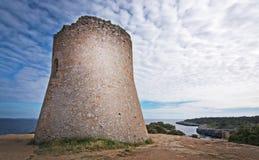 Cala Pi tower Mallorca. Cala Pi tower and ocean view horizon towards Cabrera island Mallorca, Spain royalty free stock image