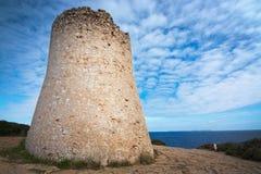 Cala Pi tower Mallorca. Cala Pi tower and ocean view horizon towards Cabrera island Mallorca, Spain Stock Photography