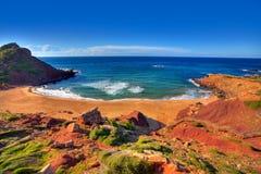 Cala Pilar beach in Menorca at Balearic Islands Stock Photos