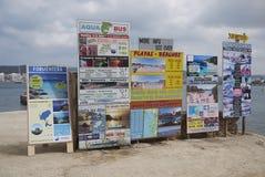 Boat Tours adv in Cala Pinet. Cala Pinet, Ibiza, Balearic Islands - September 6, 2014 : Boat Tours adv in Cala Pinet in Ibiza Royalty Free Stock Photos
