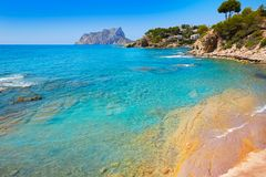 Cala Pinets beach in Benissa Alicante Spain. Cala Pinets beach in Benissa also Benisa of Alicante at Spain stock photography