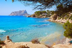 Cala Pinets beach in Benissa Alicante Spain. Cala Pinets beach in Benissa also Benisa of Alicante at Spain royalty free stock photo