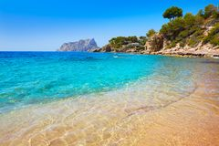 Cala Pinets beach in Benissa Alicante Spain. Cala Pinets beach in Benissa also Benisa of Alicante at Spain royalty free stock photography