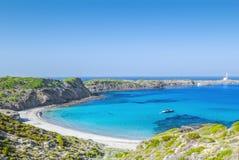 Cala Presili strand på Menorca Arkivbild