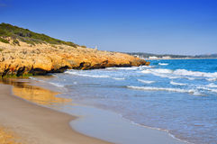 Cala Romana beach in Tarragona, Spain Royalty Free Stock Photos