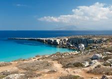 Cala Rossa海滩,法维尼亚纳海岛,西西里岛,意大利 库存图片