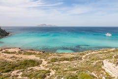 Cala rossa,法维尼亚纳,西西里岛 免版税库存照片