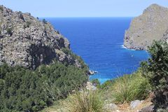 Panorama and sea view at Mallorca, Spain. Bay of Cala Sa Calobra at the isle of mallorca (Majorca), Spain Stock Photo