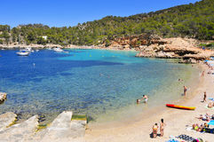 Cala Salada beach in San Antonio, in Ibiza Island, Spain Royalty Free Stock Images
