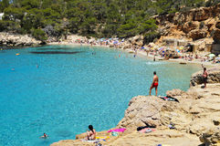 Cala Salada beach in San Antonio, in Ibiza Island, Spain Stock Photo