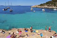 Cala Salada beach in San Antonio, in Ibiza Island, Spain Stock Images