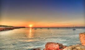 Cala Saona海滩在Formentera 库存照片