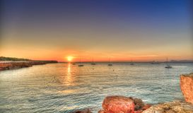 Cala Saona beach in Formentera stock photos