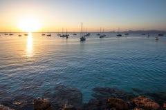 Cala Saona plaża na zmierzchu, Formentera, Hiszpania obraz stock