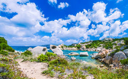 Cala Scilla place near Costa Serena with sandstone rocks in sea, Sardinia, Italy Royalty Free Stock Image