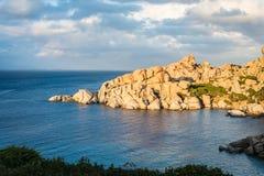 Cala Spinosa beach in Sardinia, Italy. Rocky beach of cala Spinosa in Sardinia, Italy stock image
