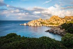 Cala Spinosa beach in Sardinia, Italy. Rocky beach of cala Spinosa in Sardinia, Italy royalty free stock photos