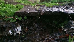 Cala sucia en lugar urbano después de la lluvia almacen de metraje de vídeo