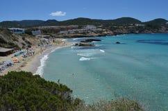 Cala tarida, eivissa. View of cala tarida in eivissa, famous for its crystal blue water royalty free stock photography