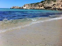 Cala Tarida i den Ibiza stranden arkivfoto