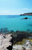 Cala Tarida in Ibiza beach San Jose at Balearic Islands Royalty Free Stock Photos